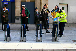 Commuters wait patiently for Cycle hire bikes at empty a docking station in King's Cross. © under license to London News Pictures. 01/11/2010.Tube Strike, RMT and TSSA members strike over job cuts and safety issues.