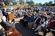 The crowd attends the dedication of Silver Pond, named for the late James L. Silver, in Oxford, Miss. on Friday, September 30, 2011. James W. Silver was a history professor and author of a well-known book on repression during the segregation era. He joined the Ole Miss faculty in 1936 and served as chair of the history department from 1946 to 1957. During the segregationist era, Silver was frequently at odds with state political leaders, but never daunted by them. He was a constant critic of racial taboos and spoke out against them, often in letters to the editors of various newspapers in the region. His 1964 treatise, ÒMississippi: The Closed Society,Ó became one of the most talked-about books to come out of the state during the period.