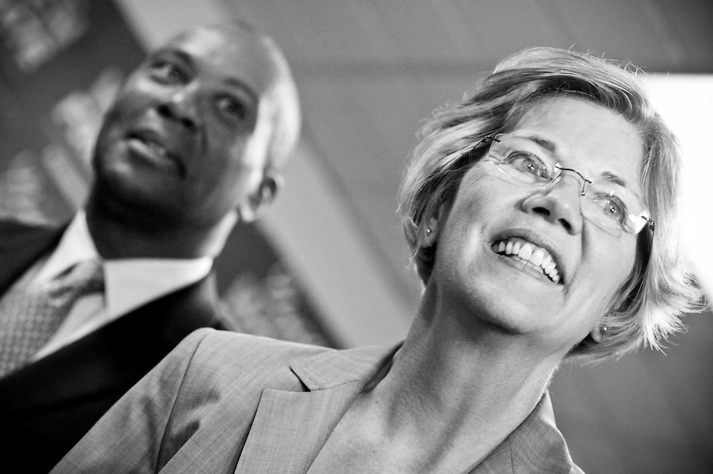 Elizabeth Warren receives Governor Deval Patrick's endorsement in her 2012 Senate race.