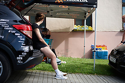 Grace Brown (AUS) chills in the back of the car at Lotto Thuringen Ladies Tour 2018 - Stage 5, a 102.9 km road race starting and finishing in , Germany on June 1, 2018. Photo by Sean Robinson/velofocus.com