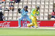 Usman Khawaja attaempts to flick Dawson during the ICC Cricket World Cup 2019 warm up match between England and Australia at the Ageas Bowl, Southampton, United Kingdom on 25 May 2019.