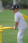 Cricket fan gets set to hit the cricket ball at the National Bank's Cricket Super Camp , University oval, Dunedin, New Zealand. Thursday 2 February 2012 . Photo: Richard Hood photosport.co.nz