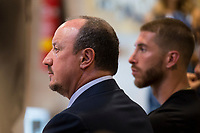 Rafa Benitez and Sergio Ramos during the tribute to Cristiano Ronaldo by Real Madrid CF on the occasion of his new record by being the top scorer in the club's history at Santiago Bernabeu Stadium in Madrid, October 02, 2015.<br /> (ALTERPHOTOS/BorjaB.Hojas)