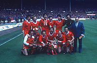 Victorious Liverpool FC team pose with manager, Bob Paisley, after defeating Manchester United 2-1 in the final of the 1983 Milk Cup at Wembley, London, UK. 19830326LIV2..Copyright Image from Victor Patterson, 54 Dorchester Park, Belfast, United Kingdom, UK...For my Terms and Conditions of Use go to http://www.victorpatterson.com/Victor_Patterson/Terms_%26_Conditions.html