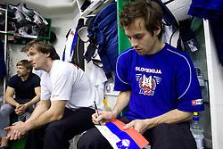 Ales Kranjc and David Rodman of Slovenian Ice Hockey National team  at visit of children of kindergarten Mojca from Dravlje, Ljubljana during the IIHF World Championship Division 1 Group B tournament, on April 21, 2010, in Hala Tivoli, Ljubljana, Slovenia.  (Photo by Vid Ponikvar / Sportida)