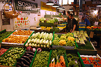 Vegetable stall, Pike Place Market, Seattle, Washington State, USA, 200809131451.<br />