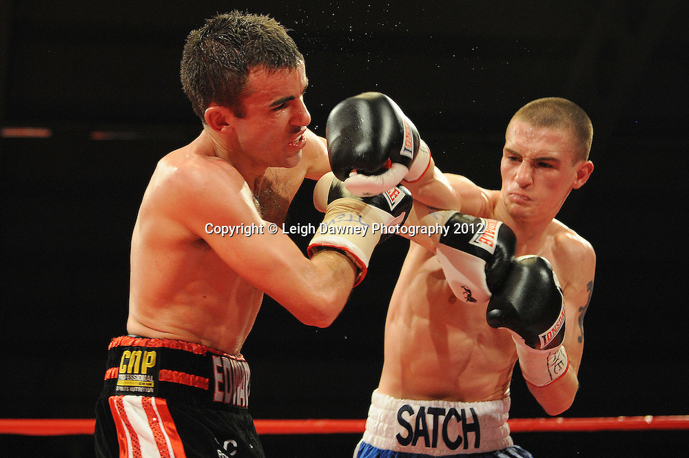 Kevin Satchell defeats Paul Edwards in a 12x3 Flyweight contest to claim the vacant Commonwealth Flyweight Title at the Aintree Equestrian Centre, Liverpool on the 19th May 2012. Frank Maloney Promotions © Leigh Dawney Photography 2012.