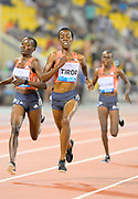 Caroline Kipkirui aka Caroline Chepkoech Kipkirui (KEN) defeats Agnes Jebet Tirop aka Angels Tirop (KEN) to win the women's 3,000m, 8:29.05 to 8:29.09, in the 2018 IAAF Doha Diamond League meeting at Suhaim Bin Hamad Stadium in Doha, Qatar, Friday, May 4, 2018. (Jiro Mochizuki/Image of Sport)