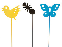 plant and garden stakes, butterfly, ant and bird