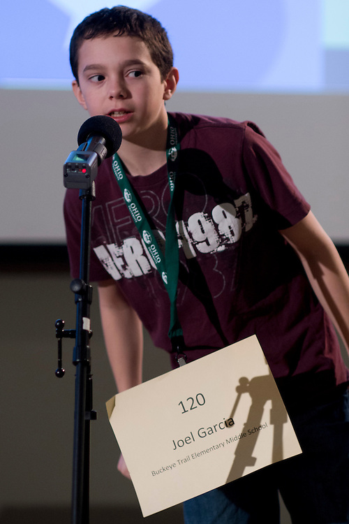 Joel Garcia of Buckeye Trail Elementary Middle School introduces himself during the Southeastern Ohio Regional Spelling Bee Regional Saturday, March 16, 2013. The Regional Spelling Bee was sponsored by Ohio University's Scripps College of Communication and held in Margaret M. Walter Hall on OU's main campus.