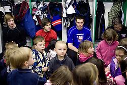 Ziga Jeglic,  Rok Ticar, Jan Urbas, Diko Stevic of Slovenian Ice Hockey National team  at visit of children of kindergarten Mojca from Dravlje, Ljubljana during the IIHF World Championship Division 1 Group B tournament, on April 21, 2010, in Hala Tivoli, Ljubljana, Slovenia.  (Photo by Vid Ponikvar / Sportida)