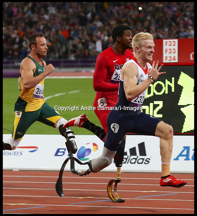 GB Jonnie Peacock wins the Men's 100m T44 at the London 2012 Paralympic Games, Thursday September 6, 2012. Photo by Andre Camara/i-Images.This image can only be used for editorial use only