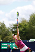 Beatriz Haddad Maia of Brazil serves during the Women's Singles Quarter Final at the Fuzion 100 Ilkley Lawn Tennis Trophy Tournament held at Ilkley Lawn Tennis and Squad Club, Ilkley, United Kingdom on 19 June 2019.