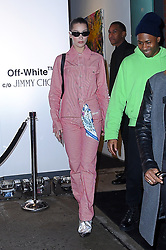 Bella Hadid in head to toe Off-white out in Midtown. 11 Feb 2018 Pictured: Bella Hadid. Photo credit: MEGA TheMegaAgency.com +1 888 505 6342
