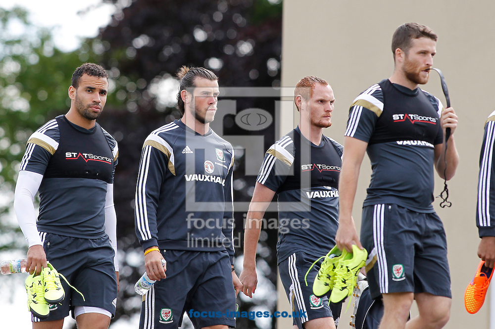 Gareth Bale and team mates arriving for the Wales Training session at the Vale Resort, Hensol<br /> Picture by Mike Griffiths/Focus Images Ltd +44 7766 223933<br /> 08/06/2015