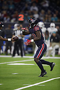 Houston Texans running back Alfred Blue (28) in action during the NFL week 8 regular season football game against the Miami Dolphins on Thursday, Oct. 25, 2018 in Houston. The Texans won the game 42-23. (©Paul Anthony Spinelli)