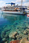 Israel, Eilat beach glass bottom boat near a coral reef