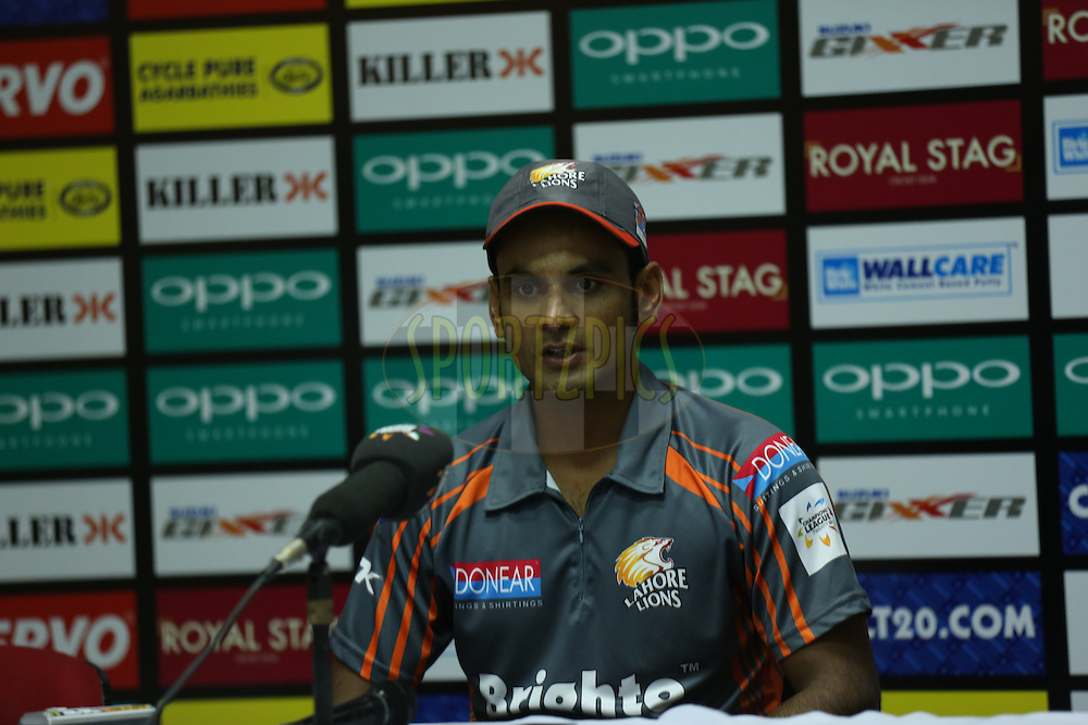 Mohammad Hafeez Captain of Lahore Lions during the press conference of the match 7 of the Oppo Champions League Twenty20 between the Kolkata Knight Riders and the Lahore Lions held at the Rajiv Gandhi Cricket Stadium, Hyderabad, India on the 21st September 2014<br /> <br /> Photo by:  Sandeep Shetty / Sportzpics/ CLT20<br /> <br /> <br /> Image use is subject to the terms and conditions as laid out by the BCCI/ CLT20.  The terms and conditions can be downloaded here:<br /> <br /> http://sportzpics.photoshelter.com/gallery/CLT20-Image-Terms-and-Conditions-2014/G0000IfNJn535VPU/C0000QhhKadWcjYs