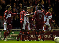 Photo: Jed Wee.<br /> Middlesbrough v Charlton Athletic. The FA Cup. 12/04/2006.<br /> <br /> Middlesbrough celebrate with goalscorer James Morrison (C).