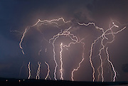 Multiple lightning strikes photographed over the Finger Lakes in New York.