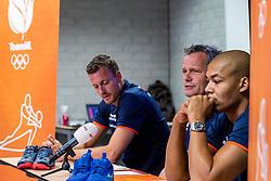 06-09-2018 NED: Press conference Netherlands, Doetinchem<br /> Press conference before the first match against Argentina / Nimir Abdelaziz #14 of Netherlands, Coach Gido Vermeulen, Jeroen Rauwerdink #10 of Netherlands