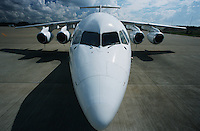 Elevated front wide angle view Bae-146 jet aircraft
