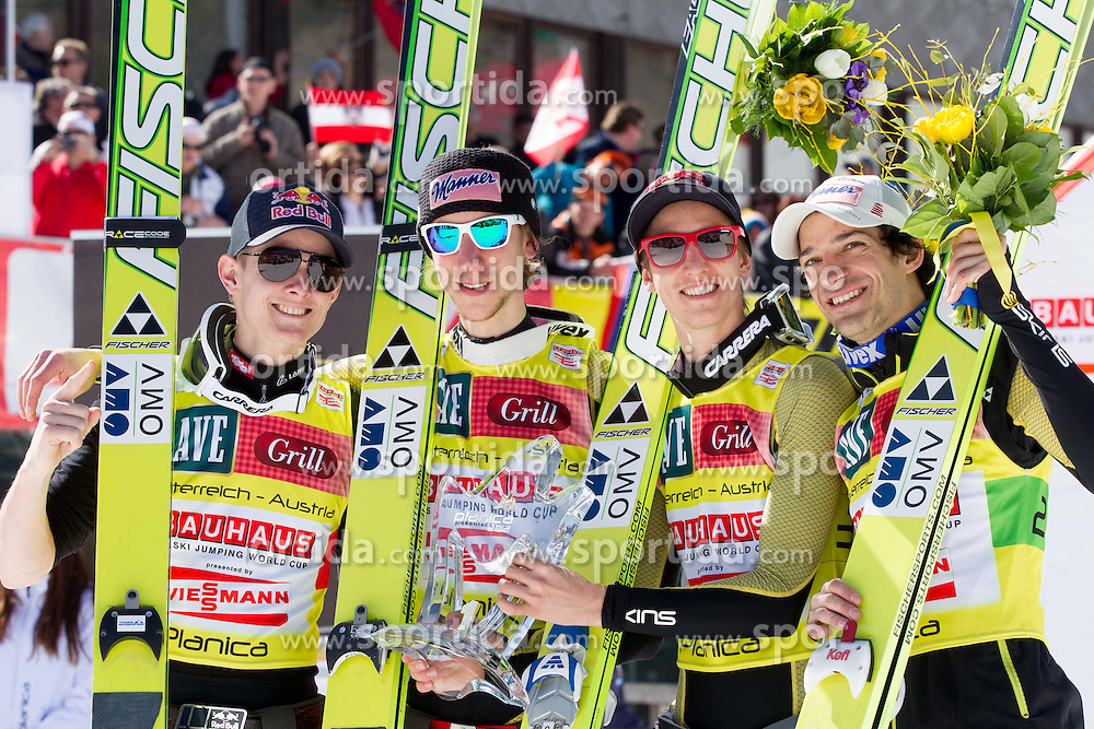 Winning team of Austria: Thomas Morgenstern, Martin Koch, Gregor Schlierenzauer and Andreas Kofler at flower ceremony after the Flying Hill Team competition at 3rd day of FIS Ski Jumping World Cup Finals Planica 2012, on March 17, 2012, Planica, Slovenia. (Photo by Vid Ponikvar / Sportida.com)