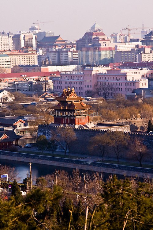 Looking across to the Forbidden City and CBD from the top of Jingshan Park in the gentle winter light of late afternoon in Beijing.