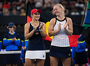 Ashleigh Barty of Australia & Kiki Bertens of the Netherlands during the doubles trophy ceremony after the final of the 2020 Brisbane International WTA Premier tennis tournament - Photo Rob Prange / Spain ProSportsImages / DPPI / ProSportsImages / DPPI