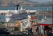 The Princess Danae, one of the oldest operational cruise ships in the world, is moored at the picturesque heritage town of Lyttelton, Port of Christchurch, March 2010