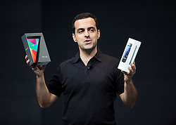 Hugo Barra, product management director of Android, tells attendees that they will get a new phone, tablet and streaming devices to test and use at  the Google I/O Developer Conference in San Francisco, California.