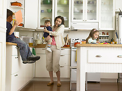 woman juggling her family life