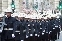 © Licensed to London News Pictures. 12/07/2014. Royal Marines marching through the City of London to commemorate their 350th Anniversary. Credit : Rob Powell/LNP