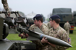 © Licensed to London News Pictures. 02/05/2012. LONDON, UK. Gunners from Sphinx Battery, 16 Regiment Royal Artillery, fit a practice missile to a Rapier anti-aircraft system in London today (02/04/12) . As part of an exercise testing military procedures and security across London for the 2012 Olympic Games a Rapier Surface to Air Missile System (SAM) has been deployed to Blackheath in South East London. Photo credit: Matt Cetti-Roberts/LNP