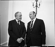 Bord Failte Hibernian Hotel, Dublin<br /> 1971.<br /> 08.10.1971.<br /> 10.08.1971.<br /> 8th October 1971.<br /> Tonight Bord Failte hosted a dinner at the Hibernian Hotel, Ballsbridge,Dublin.<br /> <br /> Picture shows Mr Eamon Ceannt (right) with Sir Reginald Wilson, Chairman, Thomas Cook & Co Ltd London at the reception.