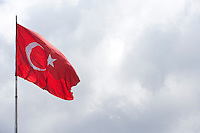Turkish flag flying in the air