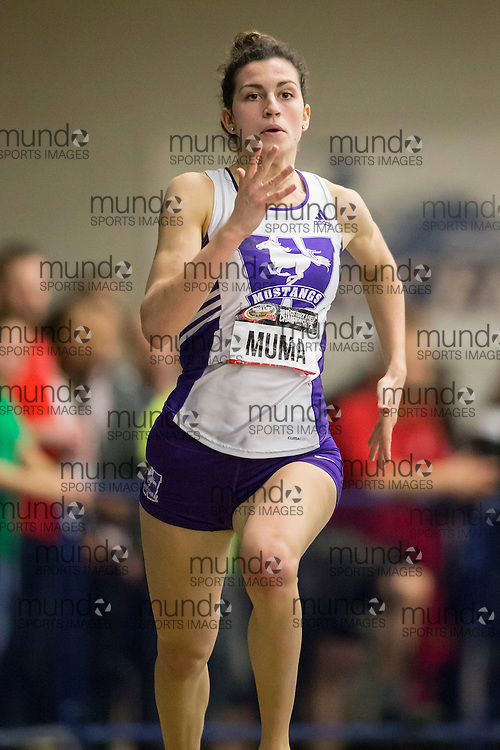 Windsor, Ontario ---2015-03-13--- Rachel Muma of Western  competes in the 300m final at the 2015 CIS Track and Field Championships in Windsor, Ontario, March 13, 2015.<br /> GEOFF ROBINS/ Mundo Sport Images