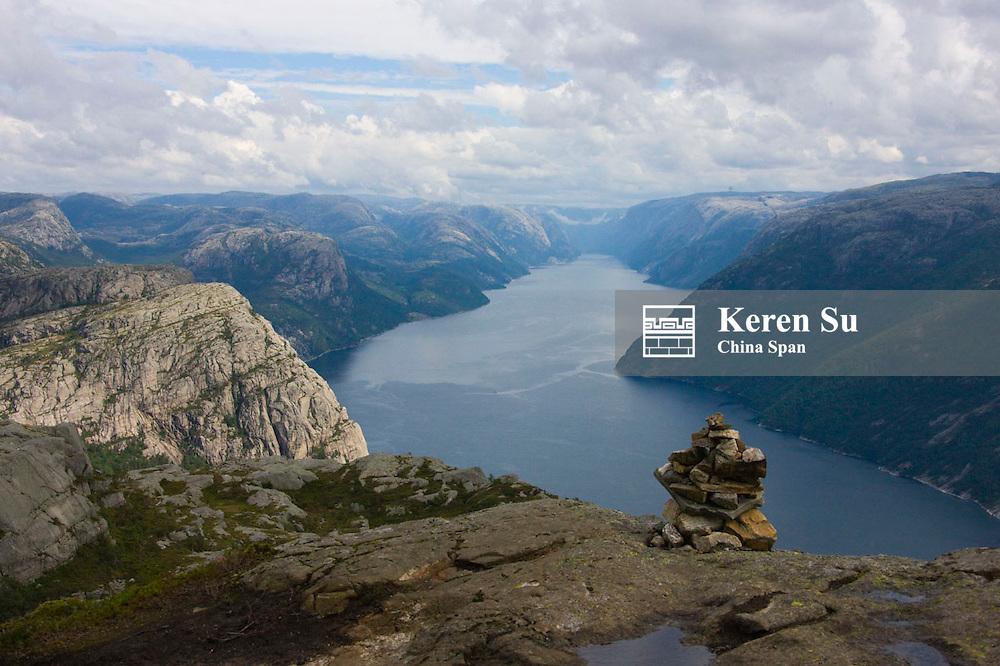 Preikestole, Pulpit Rock, Lysefjorden below, Forsand, Rogaland, Norway