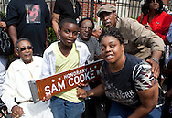Chicago, IL - June 18:  Sam Cooke was honored by the City of Chicago with the hanging of a street sign in his name.  The location at 36th and Cottage Grove  is where the Cooke family lived after migrating from Clarksdale, Mississippi. This celebration of Sam Cooke was headed by Gregg Parker, CEO of the Chicago Blues Museum and Record Row Foundation. Among the family and friends who attended were his younger brothers L.C. and David Cooke radio personality Herb Kent, singer Mary Wells and 3rd Ward Alderman Pat Dowell.  Photos by Antonio Dickey