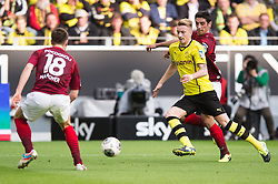 19.10.2013, Signal Iduna Park, Dortmund, GER, 1. FBL, GER, 1. FBL, Borussia Dortmund vs Hannover 96, 9. Runde, im Bild Marco Reus (#11 Dortmund) setzt sich gegen Sebastien Pocognoli (#18 Hannover), Lars Stindl (#28 Hannover) durch // during the German Bundesliga 9th round match between Borussia Dortmund and Hannover 96 Signal Iduna Park in Dortmund, Germany on 2013/10/19. EXPA Pictures &copy; 2013, PhotoCredit: EXPA/ Eibner-Pressefoto/ Kurth<br /> <br /> *****ATTENTION - OUT of GER*****