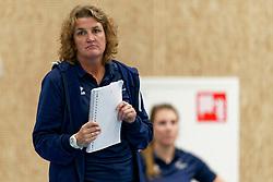 26-10-2019 NED: Talentteam Papendal - Sliedrecht Sport, Ede<br /> Round 4 of Eredivisie volleyball - Coach Vera Koenen of Sliedrecht Sport