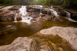 A waterfall on Cascade Brook in New Hampshire's Franconia Notch State Park.