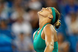 August 17, 2018 - Cincinnati, OH, U.S. - CINCINNATI, OH - AUGUST 17: Aryna Sabalenka (BLR) reacts after defeating Madison Keys (not pictured) during the Western & Southern Open at the Lindner Family Tennis Center in Mason, Ohio on August 17, 2018. (Photo by Adam Lacy/Icon Sportswire) (Credit Image: © Adam Lacy/Icon SMI via ZUMA Press)