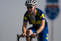 The University of Michigan - Ann Arbor team of Greg Battista, Brendan Benson, Mattison Brady, and Kyle Lake competes in the men's division 1 race.  The 2008 USA Cycling Collegiate National Championships Team Time Trial event was held near Wellington, CO on May 9, 2008.  Teams of 3 or 4 riders raced over a 20km out and back course that ran along a service road to Interstate 25.