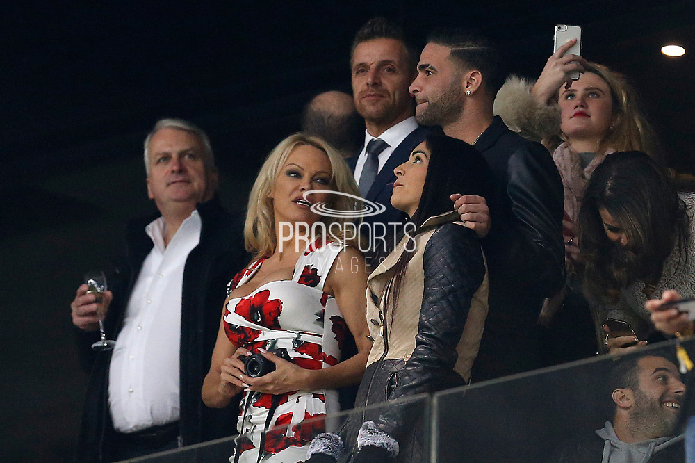Pamela Anderson attends the French Championship Ligue 1 football match between Olympique de Marseille and AS Monaco on January 28, 2018 at the Orange Velodrome stadium in Marseille, France - Photo Benjamin Cremel / ProSportsImages / DPPI