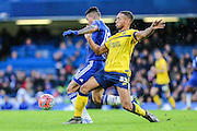 Scunthorpe's Jordan Clarke battles for the ball with Chelsea's Kenedy during the The FA Cup third round match between Chelsea and Scunthorpe United at Stamford Bridge, London, England on 10 January 2016. Photo by Shane Healey.