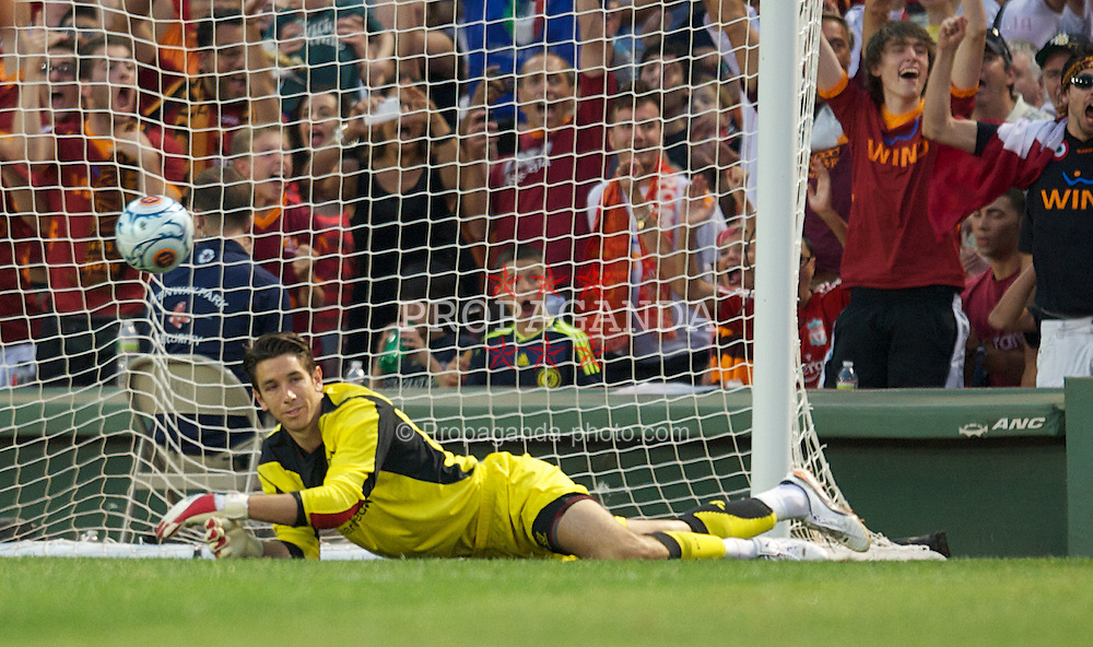 BOSTON, MA - Wednesday, July 25, 2012: Liverpool's goalkeeper Brad Jones looks dejected as AS Roma score the opening goal during a pre-season friendly match at Fenway Park, home of the Boston Red Sox, the second match of the Reds' North American tour. (Pic by David Rawcliffe/Propaganda)