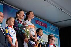 National anthems during the podium ceremony at Thüringen Rundfarht 2016 - Stage 1 a 67km road race starting and finishing in Gotha, Germany on 15th July 2016.