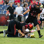 02 September 2017: The Aztecs lead the Aggies 24-3 at the half at Qualcomm Stadium in San Diego, California. <br /> www.sdsuaztecphotos.com
