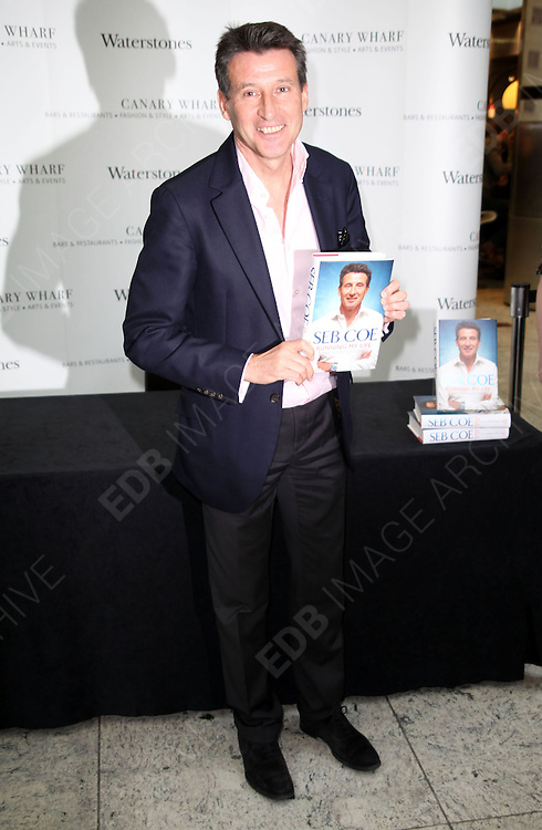 28.NOVEMBER.2012. LONDON<br /> <br /> SEBASTIAN COE SIGNS COPIES OF HIS NEW BOOK 'RUNNING MY LIFE' AT WATERSTONES, CANARY WHARF, LONDON. 28TH NOVEMBER 2012<br /> <br /> BYLINE: EDBIMAGEARCHIVE.CO.UK<br /> <br /> *THIS IMAGE IS STRICTLY FOR UK NEWSPAPERS AND MAGAZINES ONLY*<br /> *FOR WORLD WIDE SALES AND WEB USE PLEASE CONTACT EDBIMAGEARCHIVE - 0208 954 5968*